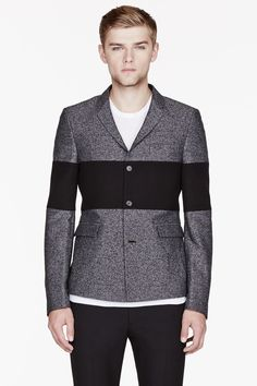 KRISVANASSCHE Mottled grey Tweed Bold Stripe Blazer