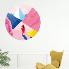 #Mountain Time 🏔️ - Aluminum Disk Print by Shihotana - #coffee #camping #landscape #pink #art