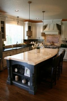 example of alternating light/dark cabinets and countertops