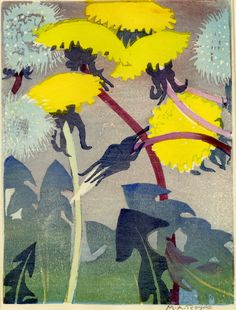 'Dandelions', study of flowers made by Mabel Royds. Colour woodcut, printed predominantly in yellow, blue and maroon, c. 1932.