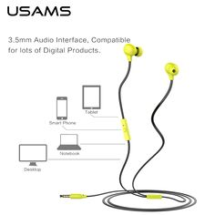 7.09$  Buy here - USAMS 1.2m In-Ear Wired 3.5mm Colorful Doug Earphone Waterproof Sport Earphones Earbuds with Microphone for iPhone Samsung LG   #buychinaproducts
