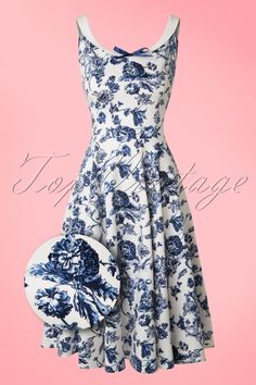 Collectif Clothing ~ 50s Maddison Toile Floral Swing Dress in White and Blue