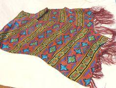 Vivid long silk coat scarf jewel tones burgundy fringe vintage  ll3412