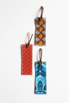 Traditional Shwe Shwe Fabric Bookmarks - Fair Trade - Handmade in South Africa - Set of 3. Tribal Print