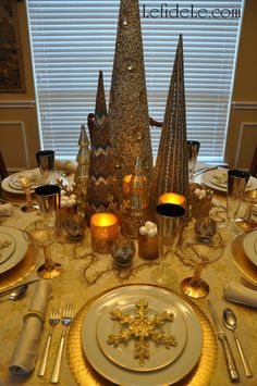 Frozen Christmas Themed Tablescape (Quickly Converts to New Year's Theme)
