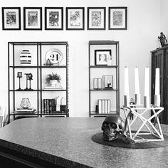 Instagram @grayglow | Shelfie | Shelf styling | Shelf decor | Home decor | Nordic decor | Nordic inspiration | Black and white | Modern decor | IKEA Vittsjö shelves | Comic Books | Nerd decor