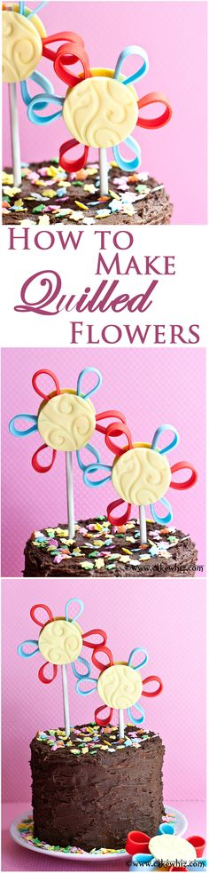 Learn to make pretty QUILLED FLOWERS. Great for decorating cakes and cupcakes! From cakewhiz.com