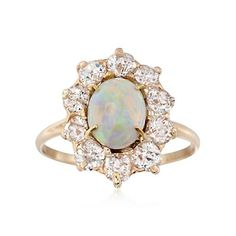 C. 1930 Vintage Cabochon Opal and 1.00 ct. t.w. Diamond Ring in 14kt Yellow Gold Circa 1950. Size 6