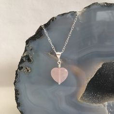 Rose Quartz heart pendant with Sterling silver wedding by Chalso