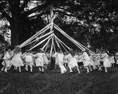 Children Dancing Around Maypole 1915 Vintage 8x10 Reprint Of Old Photo