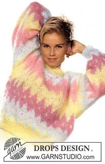 Pastellfarget DROPS genser i Vienna med harlequin-mønster. ~ DROPS Design