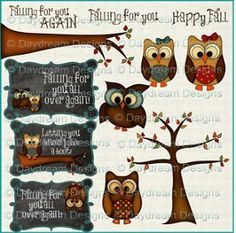 Falling For You Owls by Daydream Designs.  Available at McMahon Five Design