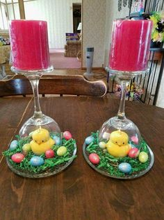 Lovely Easter DIY Wine Glass Candleholders