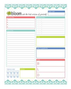 bloom daily planners Planning System Tear Off To Do Pad - Teal Daily Planner To Do Pad 6 Planner Pages, Weekly Planner, Printable Planner, Planner Ideas, Free Printables, Planner Template, Printable Labels, Budget Planner, Printable Stickers