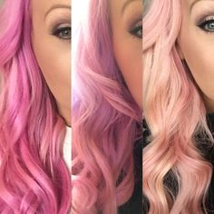 50 shades of pink! Bright pink to pastel pink , was a long week trying to tone the colour done that's for sure!