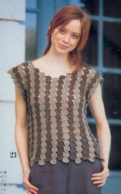 Free crochet pattern top blouse shirt--FINALLY something w/vertical lines for us curvy girls
