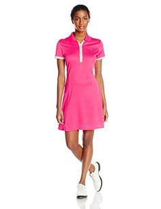 Puma Golf Womens Golf Tech Dress Shirt RaspberryVapor Blue Large