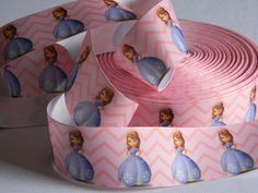 """Sofia the First Grosgrain Ribbon 5 yards of 1.5"""" Princess Pink Ribbon with Chevron Print Princess Birthday Party Hair Bows Costume Ribbon by HouseofHairDecor on Etsy"""