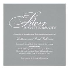 Silver Wedding Anniversary Invitation