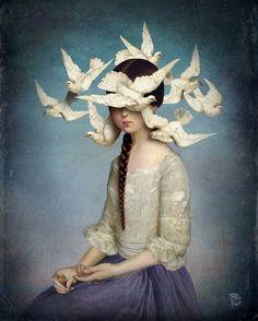 Niña y palomas. Ilustración de Christian Schloe.