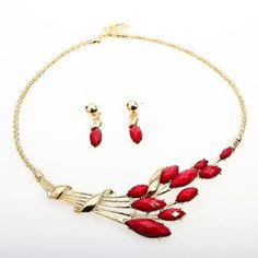 Arinna Fashion Marquise Red Ruby Necklace Earring Party Jewerly Set 18K Gold Gp: Jewelry