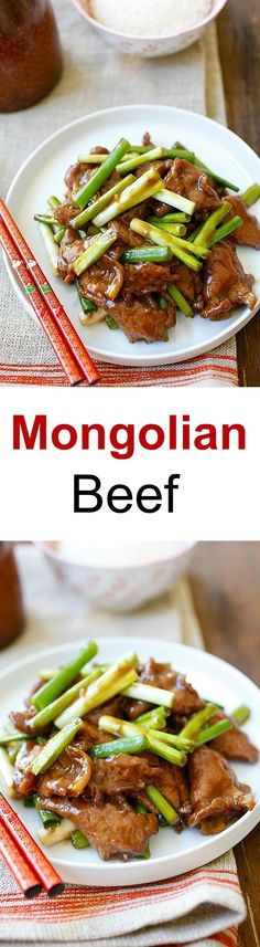 Mongolian Beef - homemade, healthy, the best Mongolian beef recipe that is a zillion times better than Chinese takeouts and PF Chang's | http://rasamalaysia.com