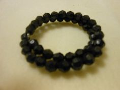 Bracelet memory wire black round faceted crystal beads 2 levels with curved ends by JewelrybyKN