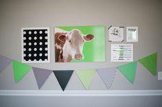 Cow birthday party gallery wall - love green and black color combo