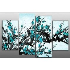 """Large plum blossom painting Turquoise Blue Chinese canvas artwork 4 pieces multi panel split canvas completely ready to hang hanging cord attached, hanging template included hand made printed to order UK company 38"""" width 28"""" height: Amazon.co.uk: Kitchen & Home"""
