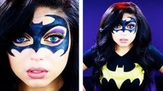 Na na na na na na na na BATMAN! The next look in my Batman inspired series is this Batman makeup Mask - this would be a really cool look to wear to a. Batman Halloween, Halloween 2015, Holidays Halloween, Halloween Costumes, Halloween Stuff, Halloween Crafts, Halloween Ideas, Batman Makeup, Batgirl Makeup