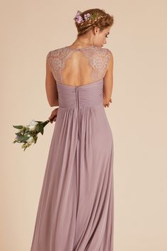 6b6cfb4ee6 Mary bridesmaid dress by Birdy Grey in Mauve. Vintage style lace empire  waist gown under