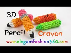 Rainbow Loom Pencil/Crayons 3D Charm - How to Loom Bands - YouTube