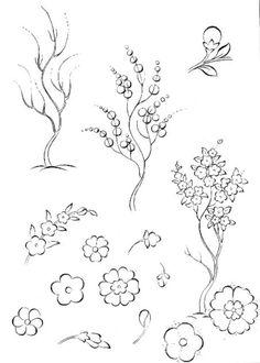 Cahide Keskiner - Minyatür Sanatında Doğa Çizim ve Boyama Teknikleri Aşamalı olarak bahar ağacı çizimi Stencil Printing, Iranian Art, Turkish Art, Letter Art, Banksy, Fabric Painting, Islamic Art, Easy Drawings, Art Lessons