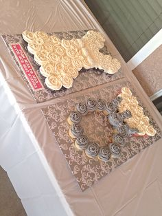 Wedding dress and diamond ring pull apart cupcake cake idea for Bridal Shower