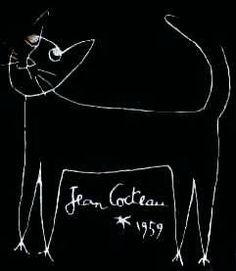 Portrait of a cat. Jean Cocteau, 1959.