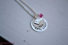 """Personalized """"Love Bird"""" Necklace with Custom Initials, Bird Charm, and a Bead"""
