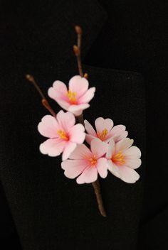 Cherry Blossoms Clay Flower Boutonniere by EstiloWeddings, via Flickr