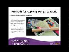 Marking The Quilt (Consumer Webinar 04.12.2012)  http://www.handiquilter.com/videos/educational-webinars/?id=194