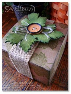 Sept AAW2-002 - Magnificent Maple Box using Polymer Clay for the maple leaves - by Connie Collins at Constantly Stamping