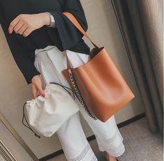 New Brand Design Women Large Capacity Tote Bag Shoulder Bag Chain Bucket Bag High Quality PU Leather Ladies Composite Bag Black Leather Handbags, Pu Leather, Leather Totes, Leather Briefcase, Leather Bags, Fashion Bags, Women's Fashion, Bucket Handbags, Shopper Bag