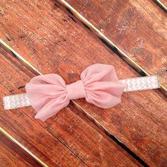 Pink Bow Headband- Chevron Headband, Pink Headband, Pink and Silver, Metallic Headband, Newborn Headband, Photo Prop on Etsy, $8.00