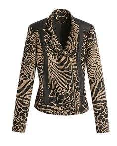 Black Label Animal Jacquard Moto Jacket