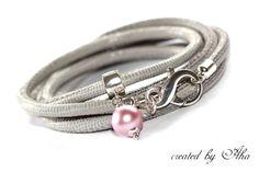 Lerenarmband, Leer, Armband grijs Silver,hangertje van Aha Sieraden & Accessoires op DaWanda.com