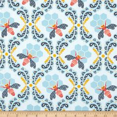 Art Gallery Sweet as Honey Bee Sweet Morning from @fabricdotcom  Designed by Bonnie Christine for Art Gallery Fabrics, this cotton print is perfect for quilting, apparel and home decor accents.  Colors include white, gold, coral, pink, red and shades of blue.  Art Gallery Fabric features 200 thread count of finely woven cotton.