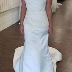 Strapless Lace Satin Fit & Flare Wedding Dress • Ava's Bridal Couture Affordable Bridal, Fit And Flare Wedding Dress, Bridal Salon, Bridesmaid Dresses, Wedding Dresses, Beaded Lace, Ava, Short Dresses, Satin