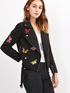 Wollmischung Bikerjacke mit Schmetterling Stickereien-schwarz
