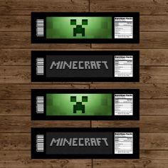 MINECRAFT Water Bottle Labels - Minecraft Birthday Party - DIY Printable. $6.00, via Etsy.