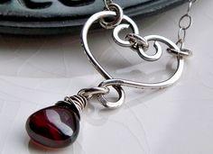 Valentine's Day heart red garnet handmade necklace | by Sara Schonberg