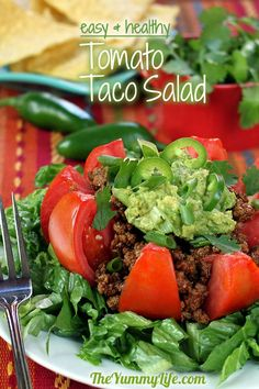 Healthy Tomato Taco Salad. Ground turkey taco meat and fresh veggies make this high in nutrients and low in calories and carbs. TheYummyLife.com