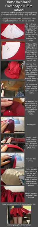 cosfluff101: Tutorial-Putting in Horse Hair Braid/CLAMP Ruffles by ~AnimeAngelCosplay   I dunno about you fluffy people, but this big lady ...